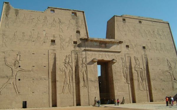 Edfu Temple Travelers, Aswan, Egypt.