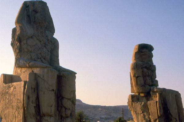Colossi of Memnon, Luxor Trippers, Egypt.